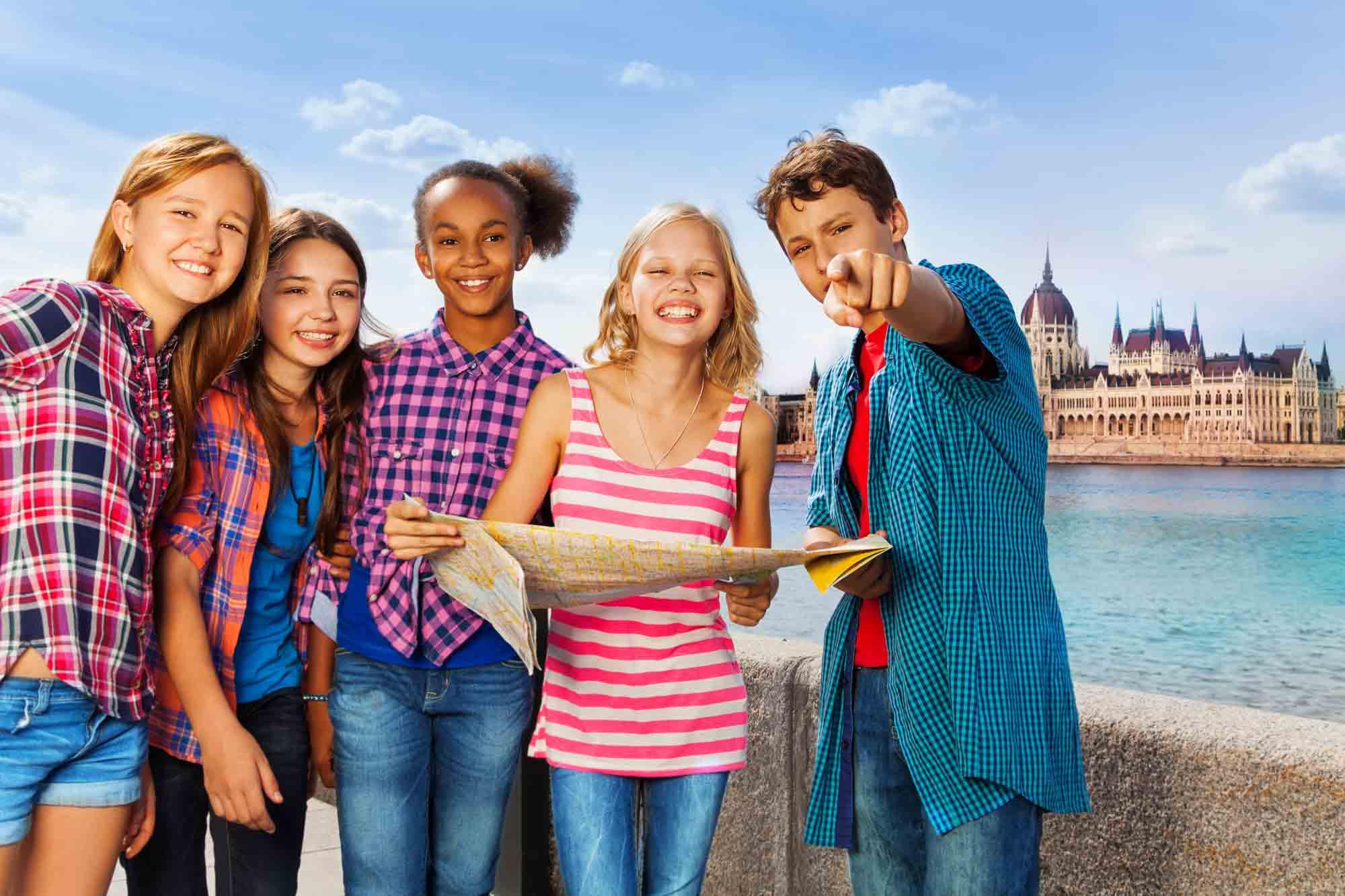 Teenagers sightseeing